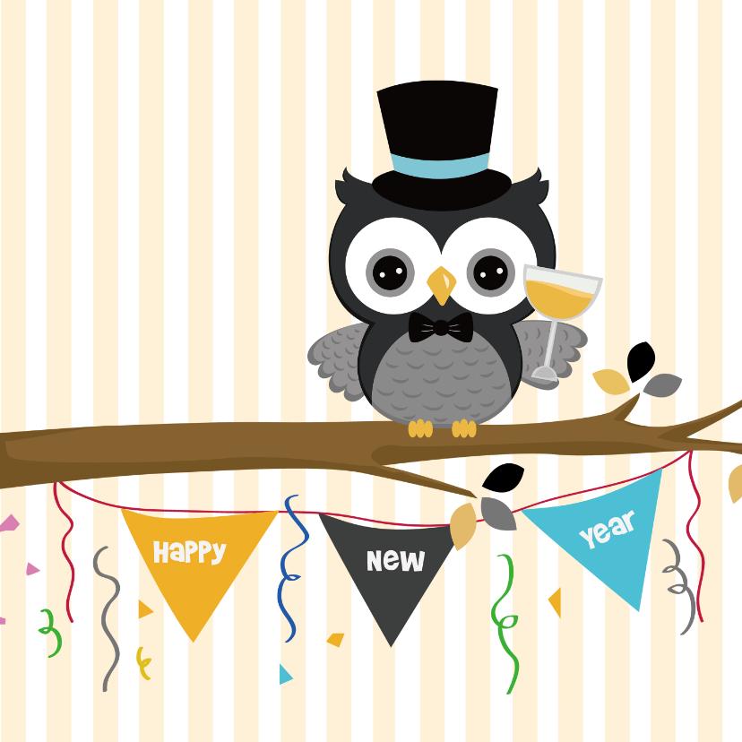 Nieuwjaar wensen uil met klok 2