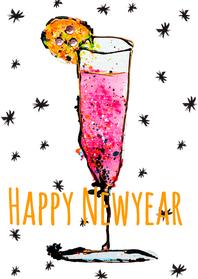 Nieuwjaarskaarten - Nieuwjaarskaart champagneglas
