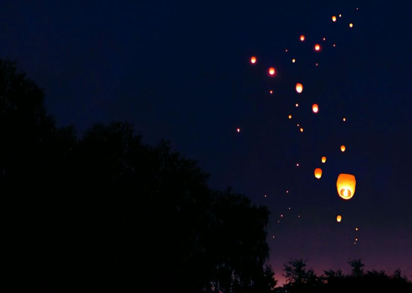 Nieuwjaarskaart de lucht vol wensen 2