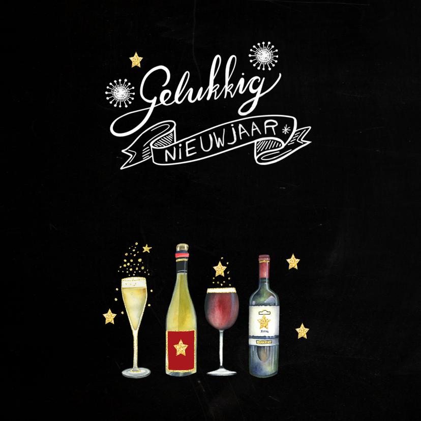 Nieuwjaarskaart fles champagne 2