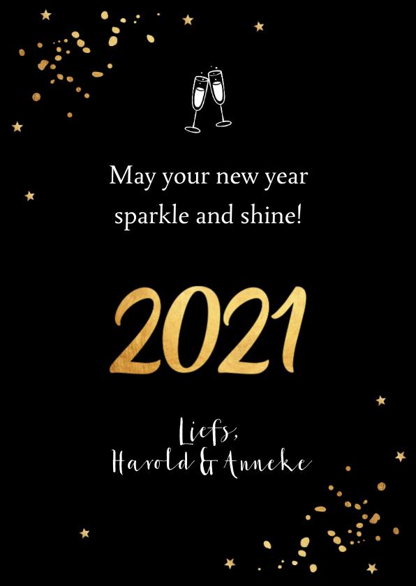 Nieuwjaarskaart fotocollage confetti goud 3