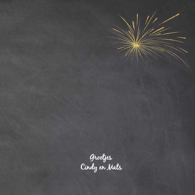 Nieuwjaarskaart goud krijtbord 3