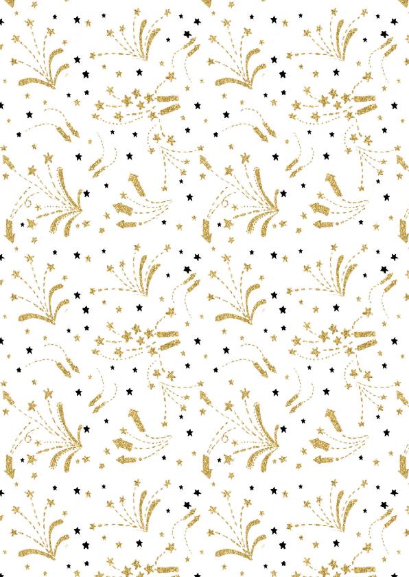 Nieuwjaarskaart goud vuurwerk 2