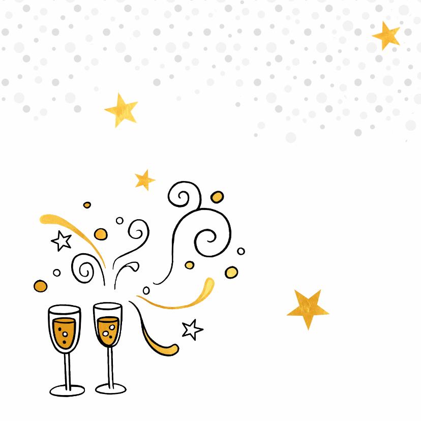 Nieuwjaarskaart gouden champagne 2