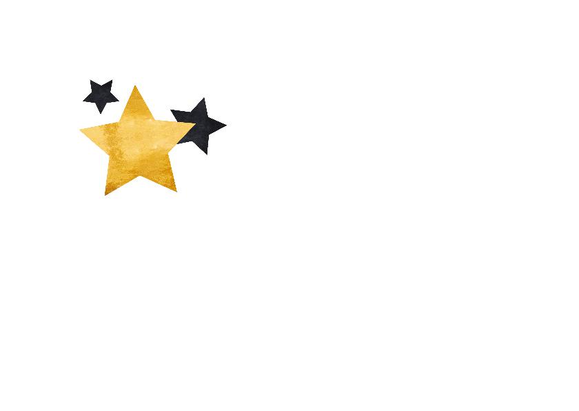 Nieuwjaarskaart gouden tekst met sterren 2