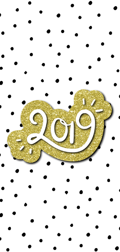 Nieuwjaarskaart 'Hello New Year' met glitter en stipjes 2