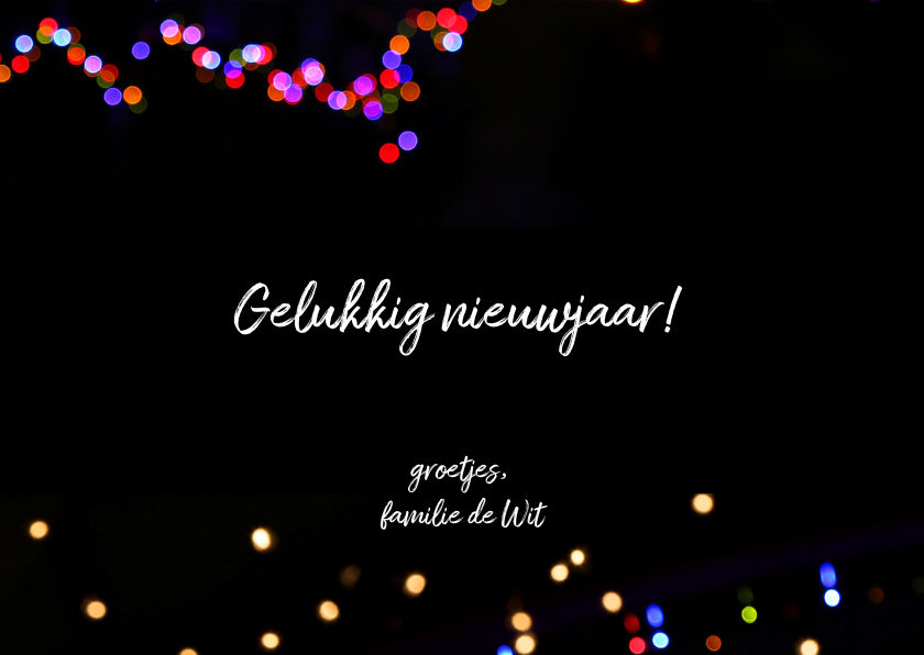 Nieuwjaarskaart hip met neon lichtjes 3