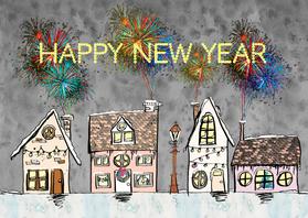 Nieuwjaarskaarten - Nieuwjaarskaart huisjes sneeuw