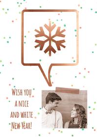 Nieuwjaarskaarten - Nieuwjaarskaart koper sneeuwvlok