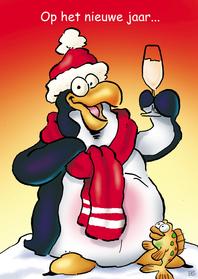 Nieuwjaarskaarten - Nieuwjaarskaart Penguins Borrel