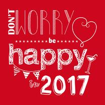 Nieuwjaarskaart quote be happy