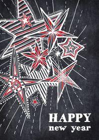 Nieuwjaarskaart sterren in krijt