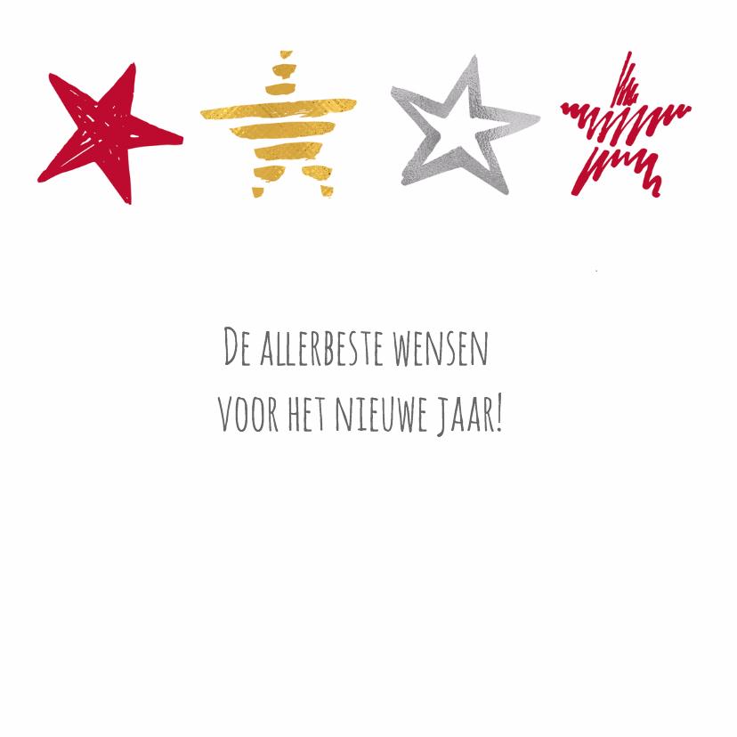 Nieuwjaarskaart sterren op rij 3