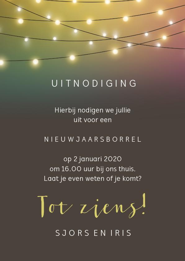 Nieuwjaarskaart uitnodiging, sfeervol met die leuke lampjes 3