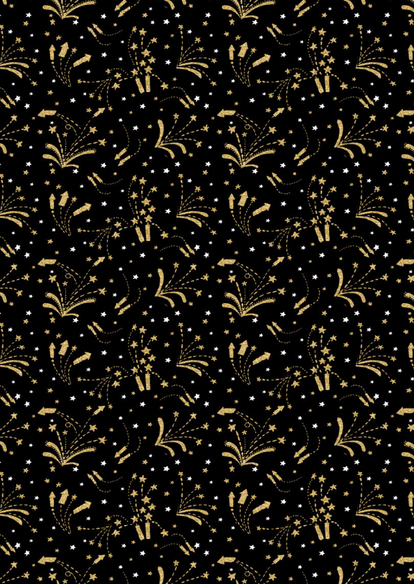 Nieuwjaarskaart vuurwerk goud 2