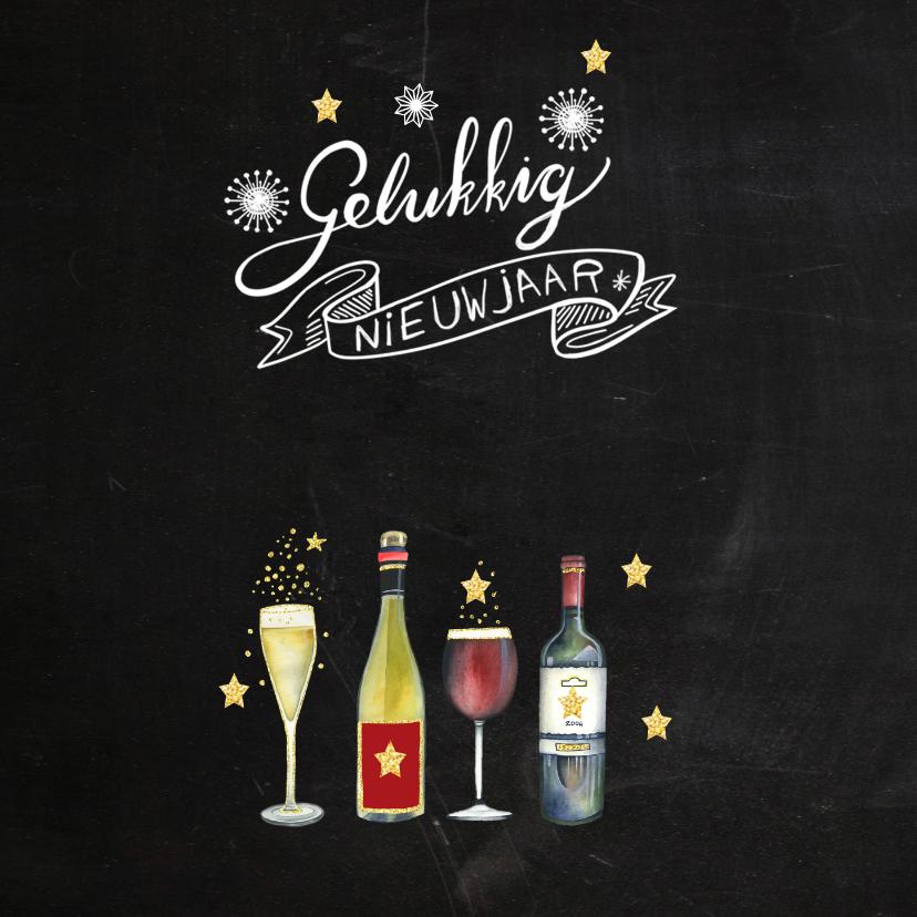 Nieuwjaarskaart wijn handlettering 2