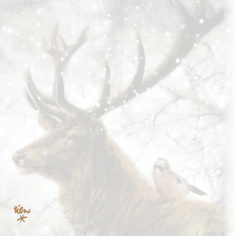 Nieuwjaarskaart wintertafereel hert en vogel 2