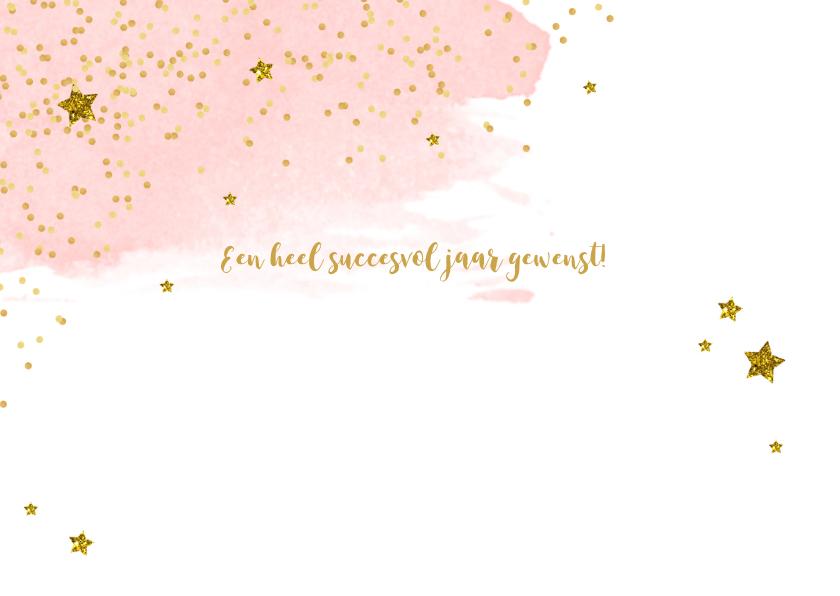 Nieuwjaarskaart zakelijk tekst aquarel glitter 2