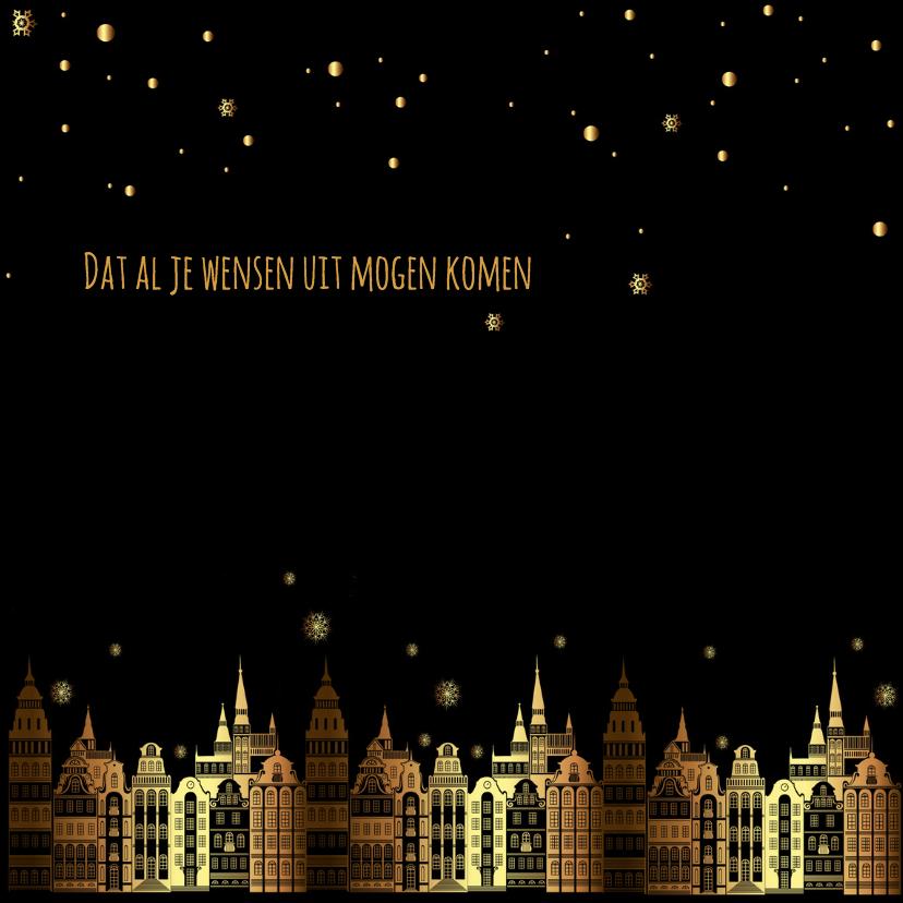 Nieuwjaarskaart zwart-goud 3