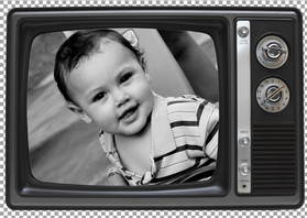 Wenskaarten divers - Ouderwetse TV Fotokaart