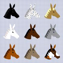 Paarden op een blauw ruitje