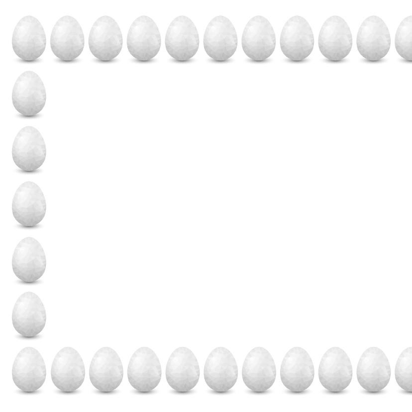 Paaskaart met verzameling witte eieren en 1 gouden ei 2