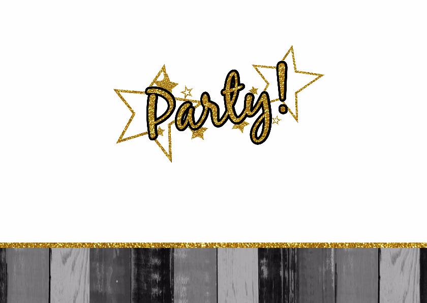 Party! zwart wit goud fotokaart 3