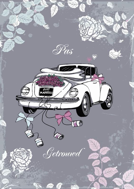 afbeelding pas getrouwd pas getrouwd witte kever in grijs | Kaartje2go afbeelding pas getrouwd