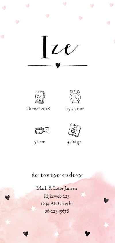 Pastel geboortekaart met sterren en hartjes achterkant