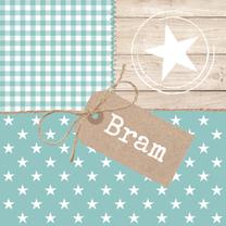 Geboortekaartjes - Pastel Hout Sterren Bram