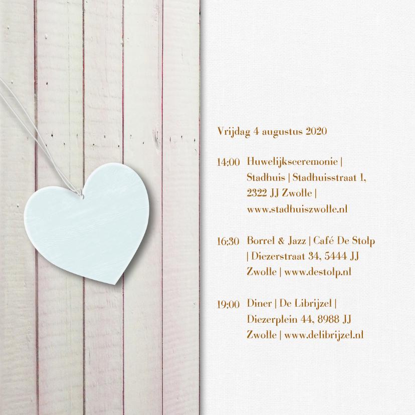 Pastelkleur hout harten goud 2