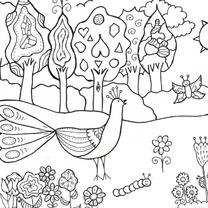 Kleurplaat kaarten - pauw in de tuin