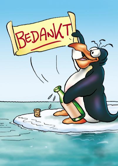 Pinguin bedankt 1 met fles 3