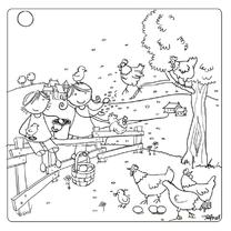 Pien en Mees met kippen