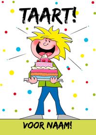Verjaardagskaarten - Poppetje met taart Verjaardag