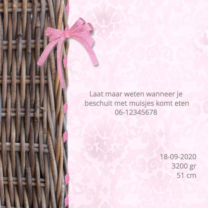 Rieten mand met strik - roze 2