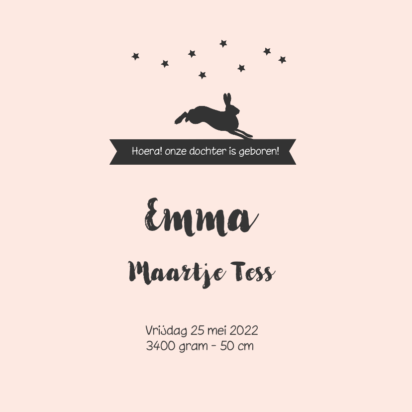 Romantisch geboortekaartje met een silhouet meisje en dieren 3