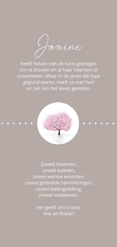 Rouw bedankt bloesemboom achterkant