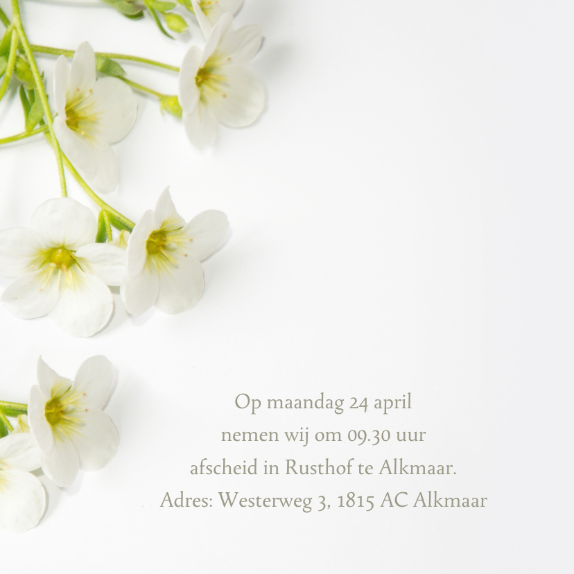 Rouwkaart aankondiging bloemen 2