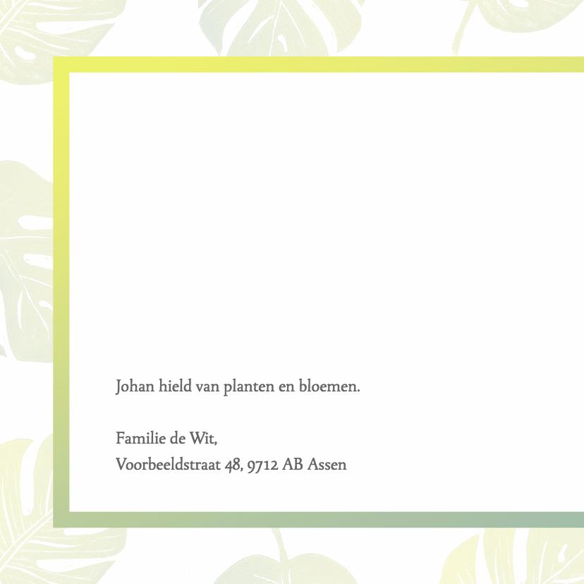 Rouwkaart foto en groene bladeren 2