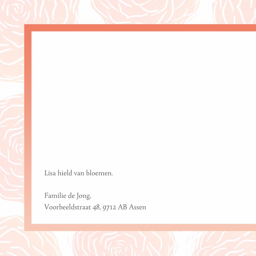 Rouwkaart foto en rozen 2
