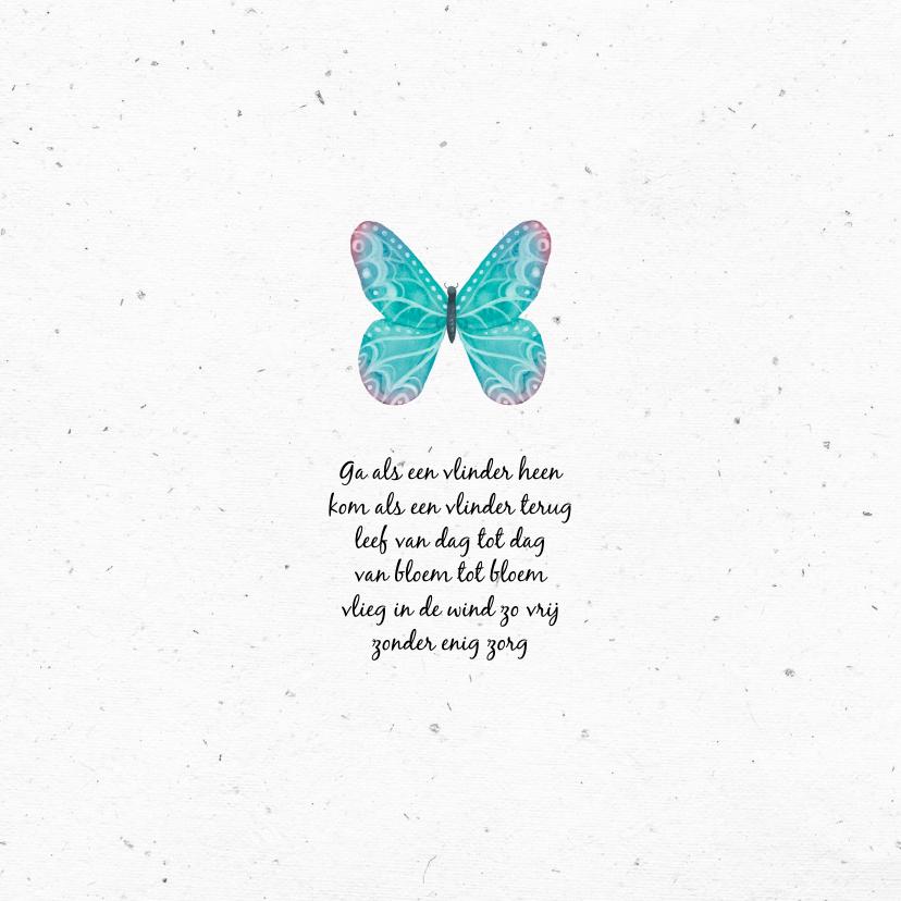 Rouwkaart kindje stijlvol met handgeschilderde vlinder 2