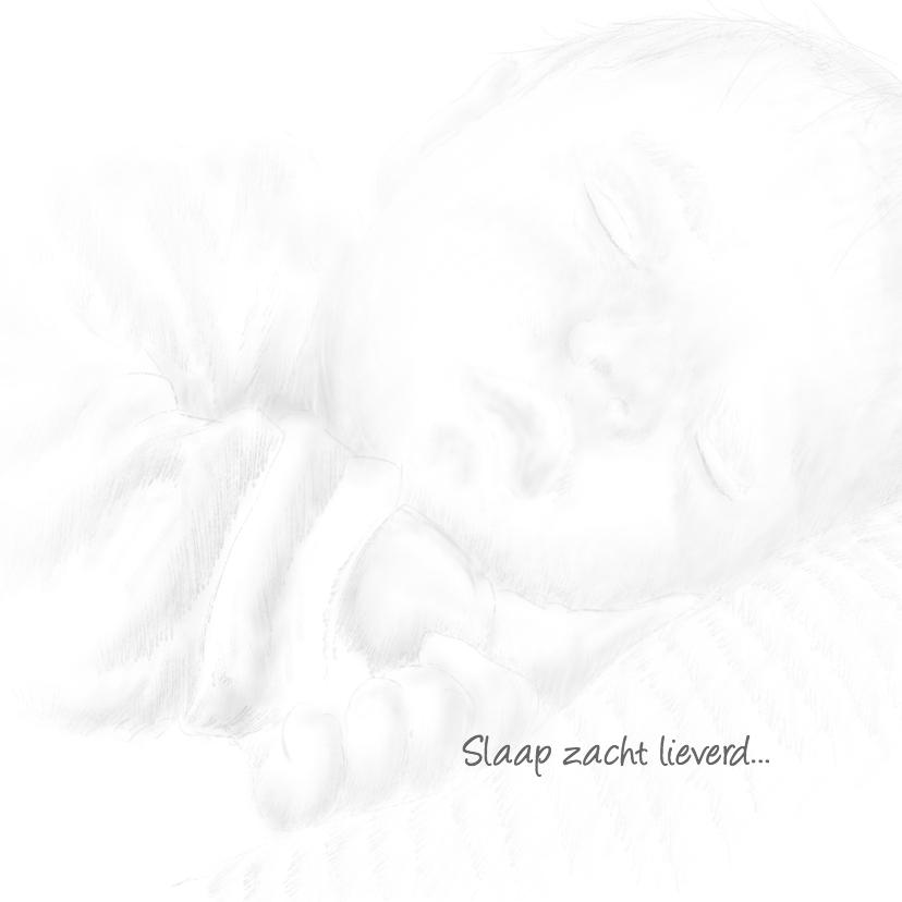Rouwkaart schets slapende baby B RB 3