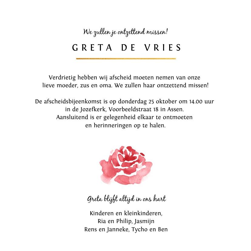 Rouwkaart stijlvol geschilderde roos met gouden hartje 3