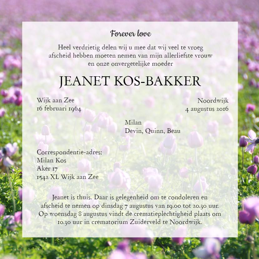 Rouwkaart Veld met roze bloemen 3