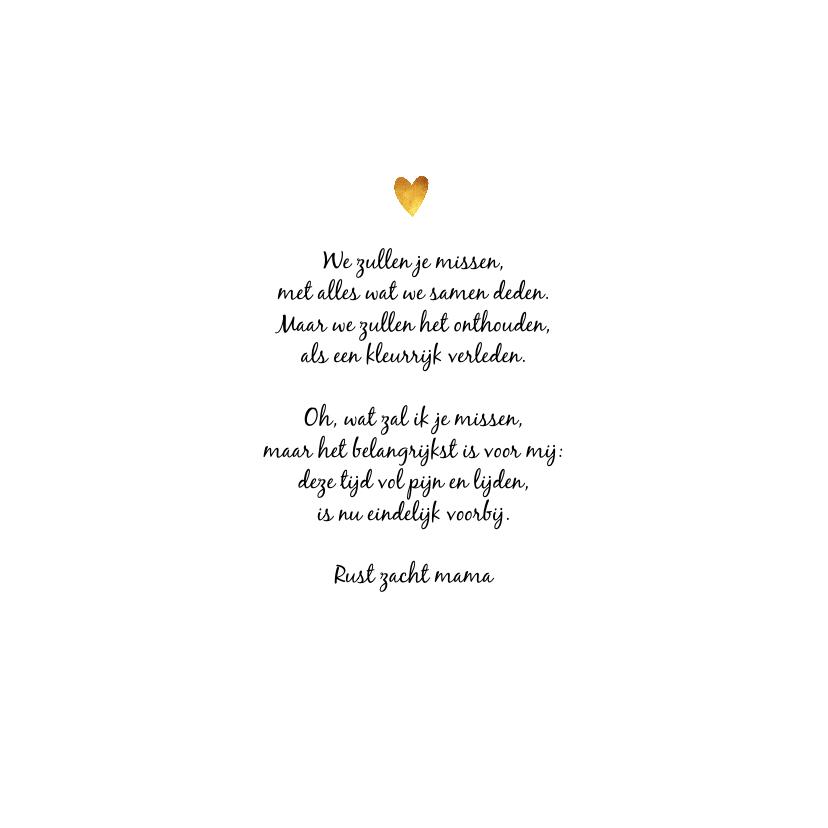 Rouwkaart vrouw met bloem en gouden hartjes 2