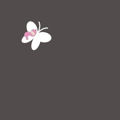 Rouwkaartje meisje op vlinder 2