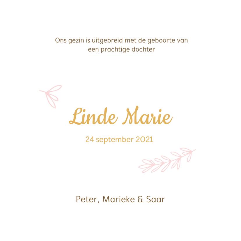 Roze geboortekaartje met witte takjes 3