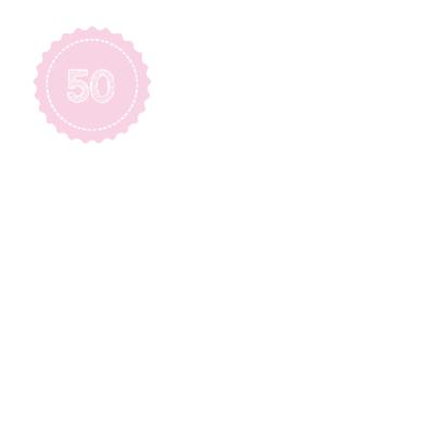 Roze jubileumkaart 50 jaar 2