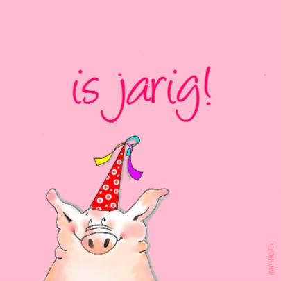 Roze verjaardag dieren kaart 2